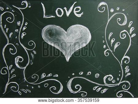 The A Chalk Board Green School Love
