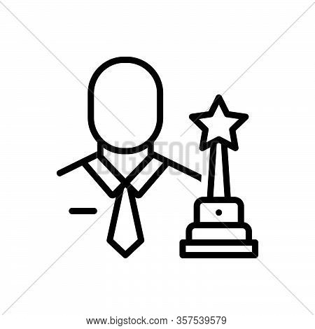 Black Line Icon For Champion Winner Prize-winner Medalist Trophy Celebration