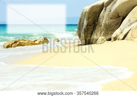 Beautiful Sea Shore With Sand  In Summer