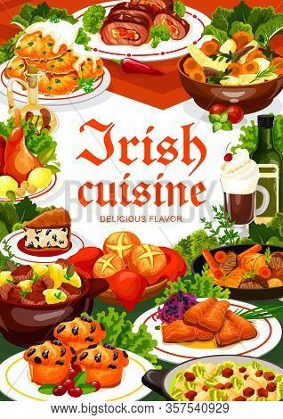 Irish Cuisine Meal Of Vegetable, Meat And Fish, Vector Food. Potato Pancakes, Beef And Rabbit Stews,