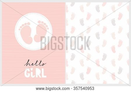 Cute Nursery Vector Art. Light Pink Little Baby Feet In A White Round Frame Isolated On A Striped Bl