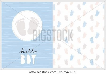 Cute Nursery Vector Art. Light Gray Little Baby Feet In A White Round Frame Isolated On A Striped Pa