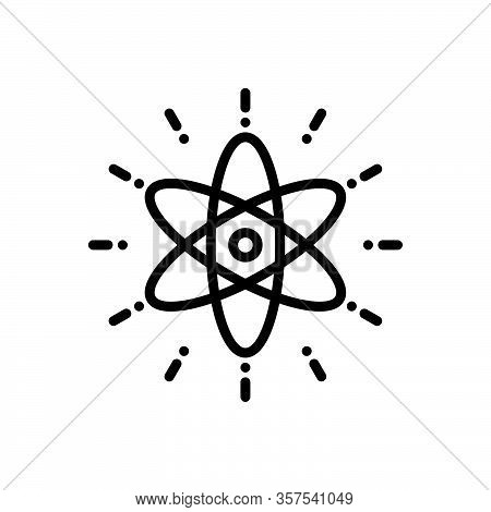 Black Line Icon For Nuclear Molecular Particle Orbit React Chemistry Circle Fusion Atom Atomic