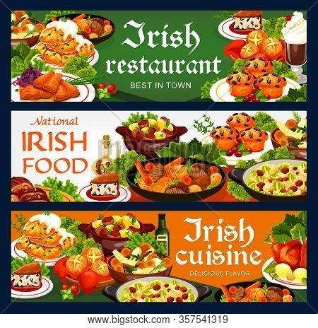 Irish Cuisine Food Vector Banners With Vegetable And Meat Stews, Fish And Bread. Potato Pancakes And