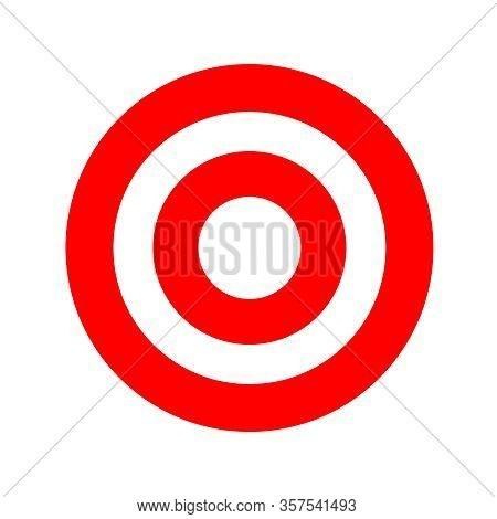 Red Round Symbol Isolated On White, Circle Icon Red For Shooting Target Arrow Aiming, Target For Spo