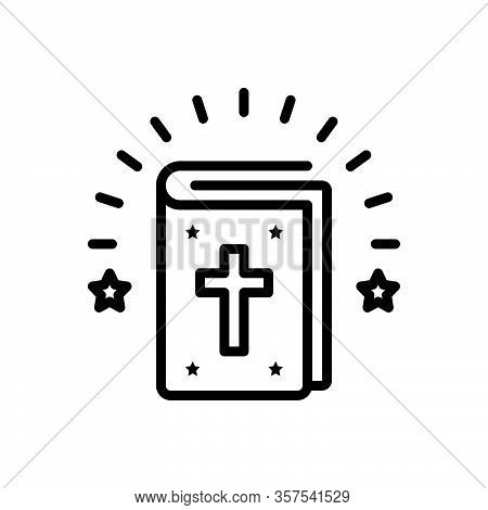 Black Line Icon For Bible Authority Creed Doctrine Guidebook Faith Prayer Scripture Catholic Christi