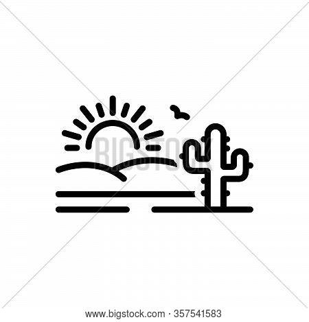 Black Line Icon For Desert Sands  Sandbar Cactus Wilderness Barren Infertile Natural Sun