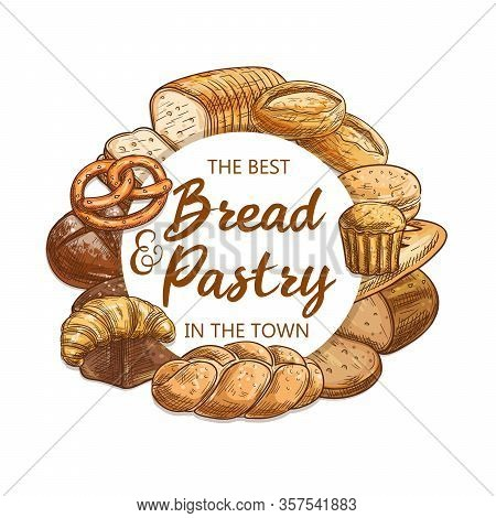 Bread And Pastry, Vector Food Of Bakery And Pastry Shop. Wheat Baguette, Croissant And Cereal Bread