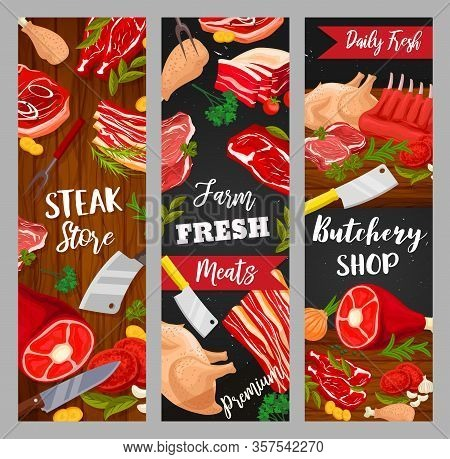 Meat Food Vector Banners Of Beef Steaks, Pork Ham And Bacon, Barbecue Chicken Legs, Lamb Ribs And Tu