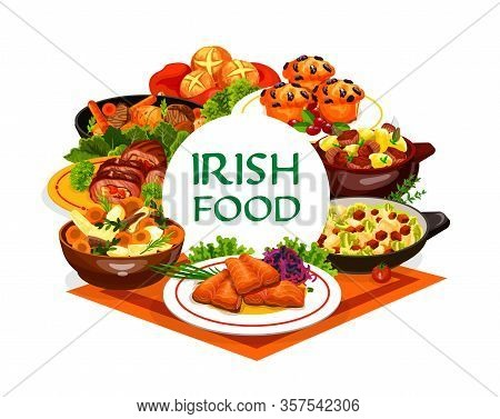 Irish Cuisine Food Vector Design Of Vegetable Meal With Meat Stews And Fish Dishes. Mashed Potato Co