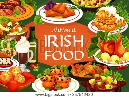 Irish Cuisine Food Vector Meal Of Meat, Vegetable And Fish With Bread. Potato Pancakes, Irish Stews
