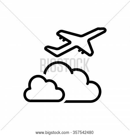Black Line Icon For Beyond Over Above Holiday Away-from On-the-far-side-of Aeroplane Airliner Cloud