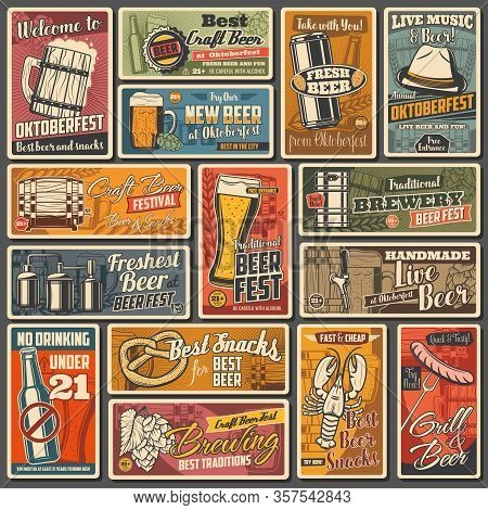 Beer Alcohol Drink Retro Posters Of Bar, Pub And Oktoberfest Beverage Vector Design. Glasses And Mug