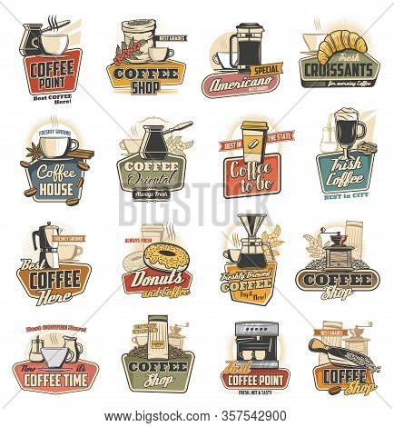 Coffee Shop And Cafe Retro Icons With Vector Cups, Espresso Machine And Desserts. Cappuccino And Lat