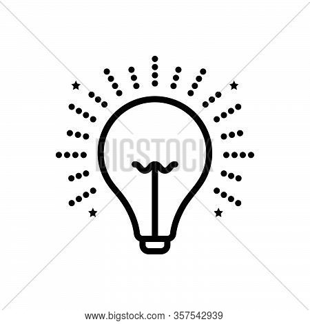Black Line Icon For Light Illumination Beacon Lightness Luminosity Radiance Electricity