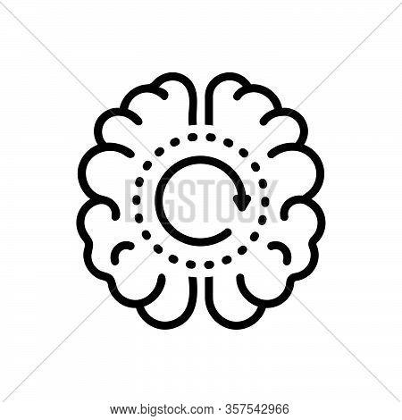 Black Line Icon For Memory Remembrance Reminiscence Souvenir Retention Flashback Neurology Psycholog