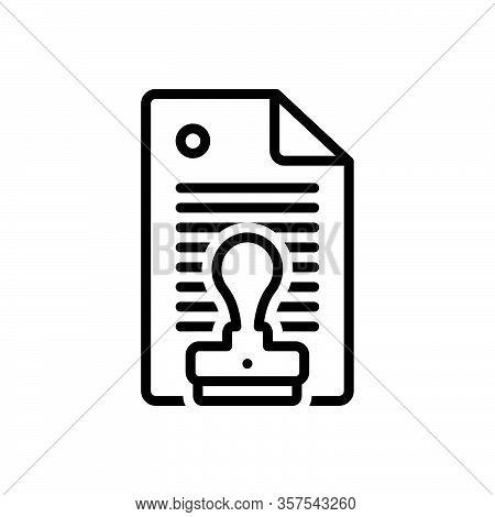 Black Line Icon For Permission Authorization Permit Privilege Assent Allowance Imprimatur Assentatio
