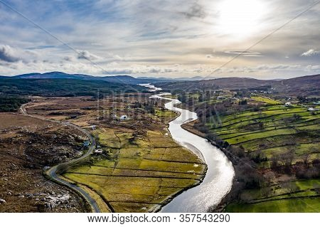 Aerial View Of Gweebarra River Between Doochary And Lettermacaward In Donegal - Ireland.