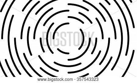Circle Line Black Swirl Burst On White Background, Swirl Circle Art Line Spiral Shape, Cycle Spiral