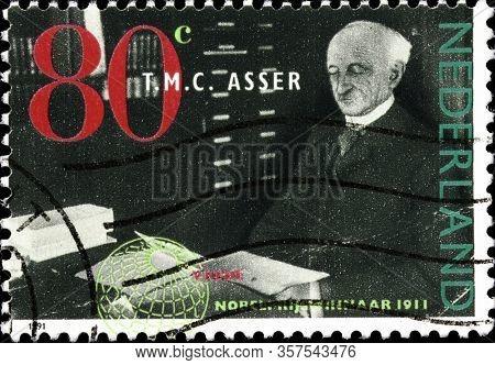 02.11.2020 Divnoe Stavropol Territory Russia Postage Stamp Netherlands 1991 Nobel Prize Winners Tobi