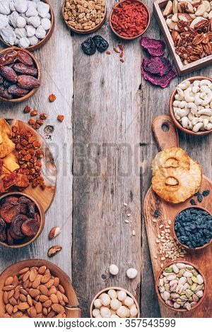 Mix Of Dried Fruits And Nuts -brazil Nuts, Cashew, Pecan, Almonds, Macadamia, Pine Nuts, Hazelnuts,