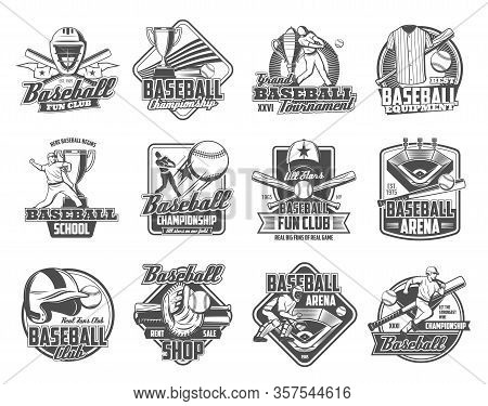Baseball Sport Ball, Bat And Trophy Cup Vector Badges. Player On Sporting Arena With Glove Or Mitt,