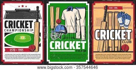 Cricket Sport Game Equipment And Stadium. Vector Cricket Balls, Bats And Wickets, Player Uniform, Gl
