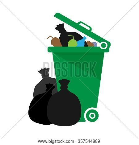 Bin, Plastic Bin Green Of Waste And Plastic Bag Isolated On White Background, Dumpster Recycle Illus
