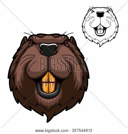 Beaver Animal Head Vector Mascot Of Hunting And Sport Design. Wild Rodent Mammal With Bared Teeth, R