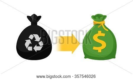 Icon Garbage Bags And Money Bag, Symbol Of Sack Garbage Waste And Money Trade, Waste Exchange Busine