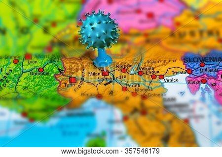 Covid-19 Outbreak Or New Coronavirus, 2019-ncov, Virus Pin In Milan On Map Of Italy. Covid 19-ncp Vi