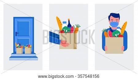 Food Delivery Service Concept, Online Order Tracking. Warehouse, Truck And Scooter Courier, With A D