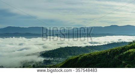 Remarkable Sunrise Sea Of Clouds Above Blangkejeren Town But Below Impressive Bukit Barisan Mountain