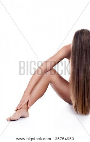 perfect woman  body , artistic nudity style, isolated on white background