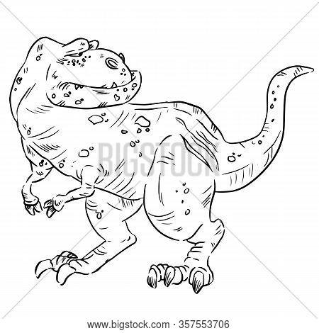 Cartoon Dinosaur Image. Sketch Image Of An Old Cute Comic Style T-rex Dinosaur. Tyrannosaurus Rex Di