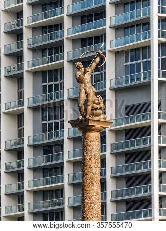 Miami, Fl, United States - April 20, 2019: The Tequesta Indians Were The Original Inhabitants Of Mia