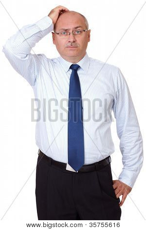 Mature businessman scratch his head, isolated on white