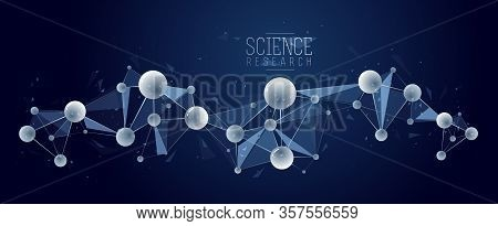 Molecules Vector Abstract Background, 3d Dimensional Science Chemistry And Physics Theme Design Elem