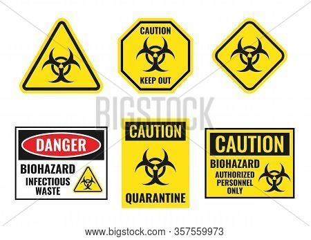 Biohazard Warning Sign Set, Biological Hazard Danger Icons
