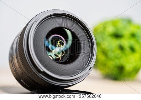 Digital Camera Photography Dslr. Professional Equipment. Optical Lens On White Background