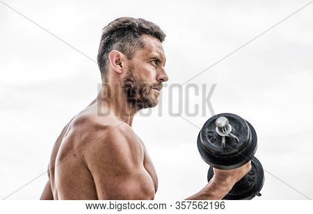 Price Of Greatness Is Responsibility. Dumbbell Exercise Gym. Muscular Man Exercising With Dumbbell.