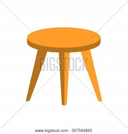 Hand Drawn Flat Round Table Or Stool With Three Legs In Light Brown Color With Shadows. Wooden Furni