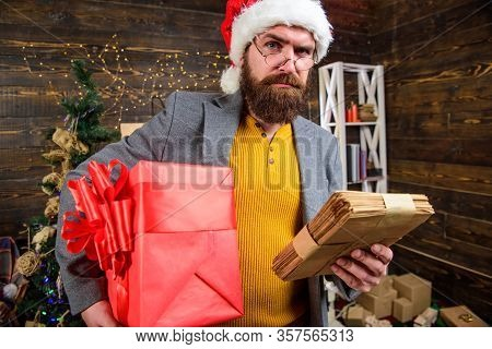 Man Mature Bearded With Eyeglasses Received Post For Santa. Gifts Delivery Service. Letter For Santa
