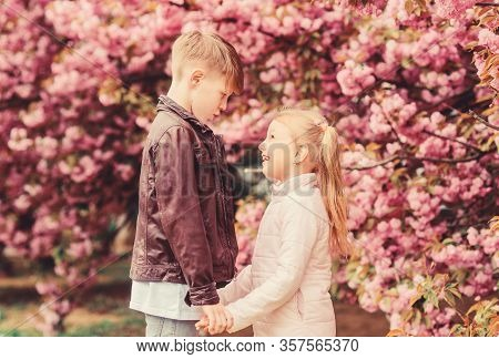 Kids In Love Pink Cherry Blossom. Love Is In The Air. Couple Adorable Lovely Kids Walk Sakura Garden
