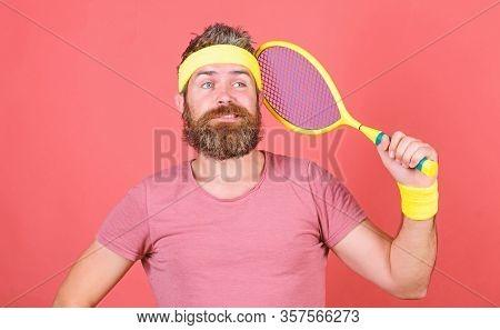 Play Tennis For Fun. Reach Top Again. Man Bearded Hipster Wear Sport Outfit. Tennis Player Retro Fas