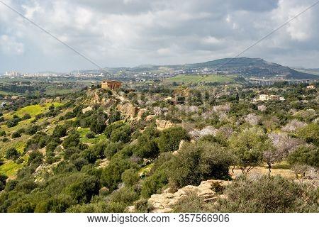 The Sicilian Landscape With The Tempio Della Concordia In Valley Of The Temples Near Agrigento In It