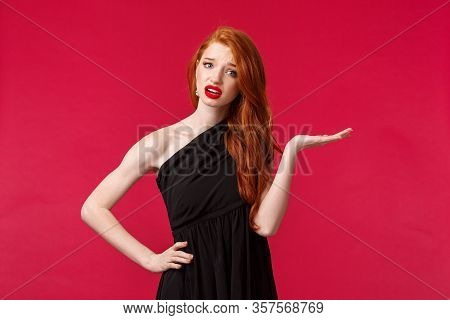 Whats Your Problem, So What. Arrogant And Pissed-off Snobbish Sassy Redhead Woman In Elegant Black D