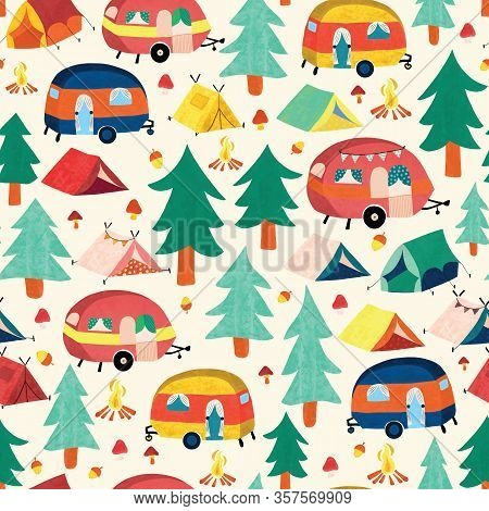 Camper Vans And Camping Tents Between Forest Trees Seamless Pattern. Cute Vintage Style Campground S