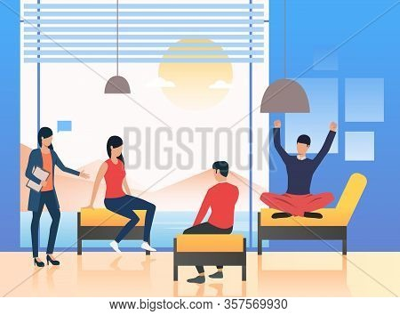 Psychologist Standing At Patients. Session, Informal Meeting, Briefing. Meeting Concept Illustration