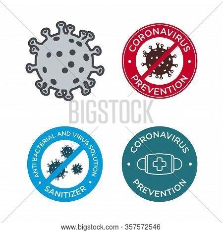 Coronavirus Prevention Icon Set. Mers-cov (middle East Respiratory Coronavirus Syndrome), (2019-ncov